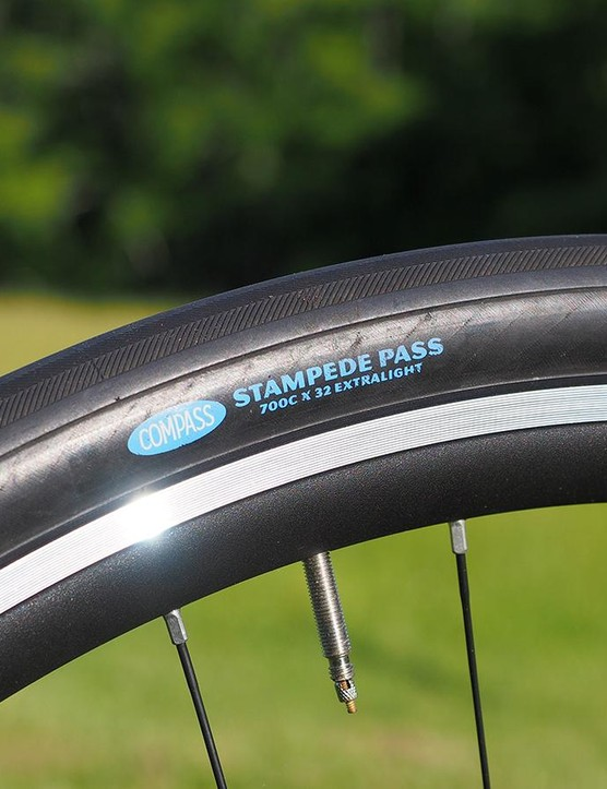 Bishop's personal machine is built to handle just about any reasonably maintained road with big 32mm-wide tire profiles and supple casings for a fast and smooth ride. The Compass brand is quite popular among the handbuilt crowd