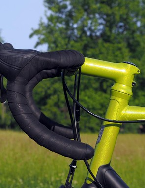 Enve's deep-drop carbon bar is dressed with Campagnolo Chorus Ergopower levers and real Cinelli tape