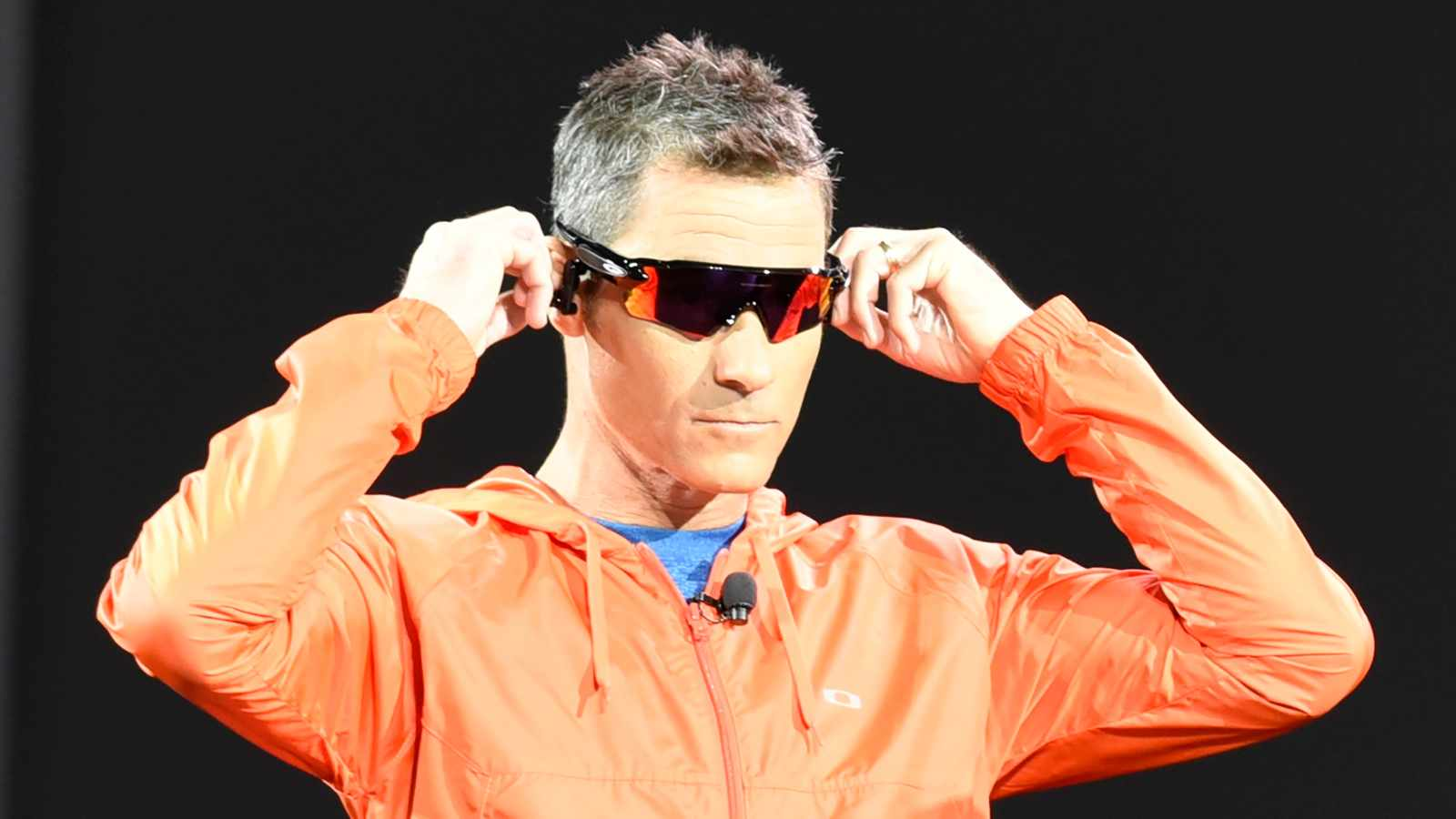 Ironman athlete Craig Alexander models the Oakley Radar Path prototype, a collaborative project between Intel and the Luxottica eyewear brand