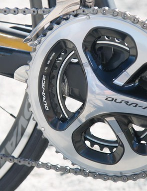 Shimano Dura-Ace cranks are always fast shifting and reliable, and the 52-36t mid-size chain rings offer a versatile gear range