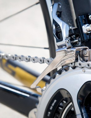 The front derailleur is also Shimano Dura-Ace