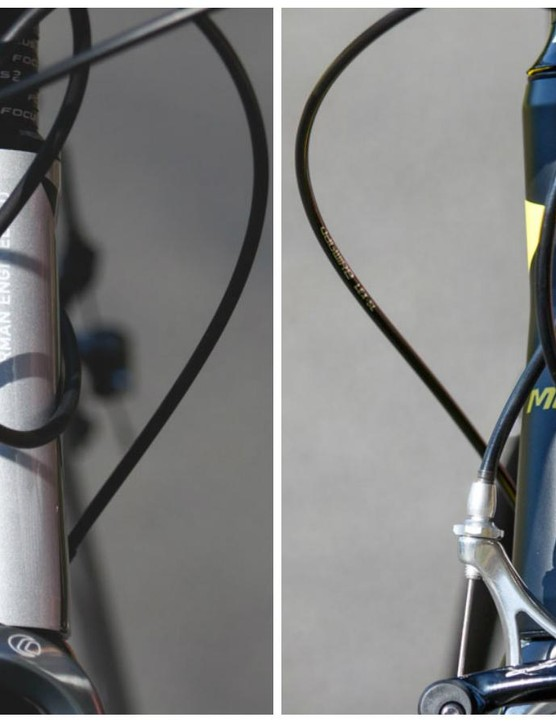 Measuring the head tube gives some indication as to the purpose of the bike. The Focus Cayo AL (left) with the shortest head tube on test, while the Merida Ride 200 offered the longest (pictured on right)