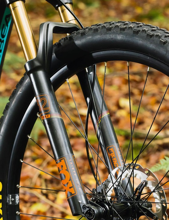 Fox's 32 fork has improved stiffness due to its Boost spacing