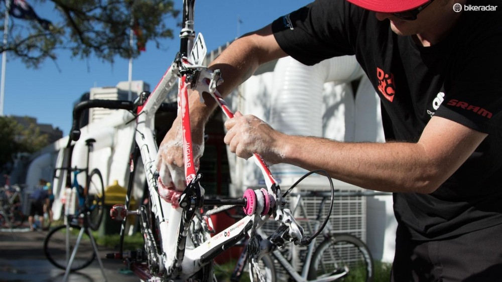 During races, pros have their bikes (including chains) cleaned every single day. That's unlikely to be practical for you, so read on