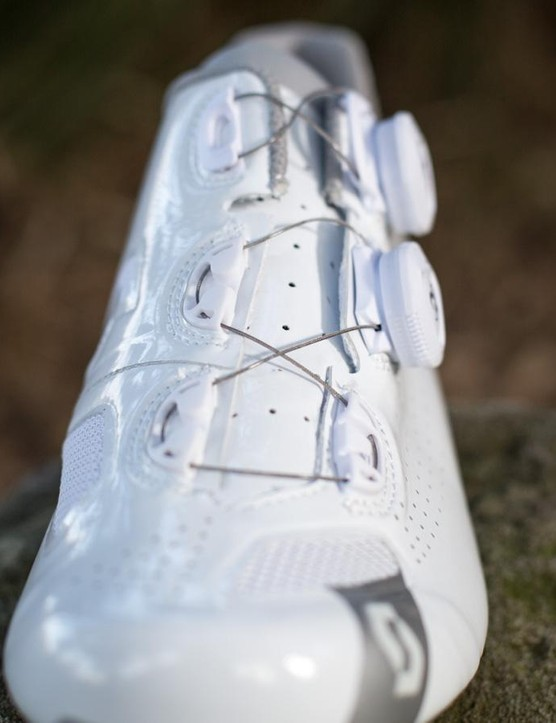 The Road RC shoes' asymmetric upper moves the Boa cable guides away from common pressure points