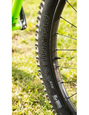 Soft-compound WTB Vigilante rubber grips the trail well