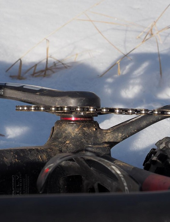The offset chainring is flipped outward to maintain the proper chainline