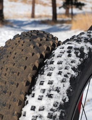 The Farley's stock 27.5x3.8in tire has a nearly identical circumference as a 26x5in one. As a result, swapping between the two yields essentially identical frame geometry and handling, aside from the inherently different feel of the two footprint sizes