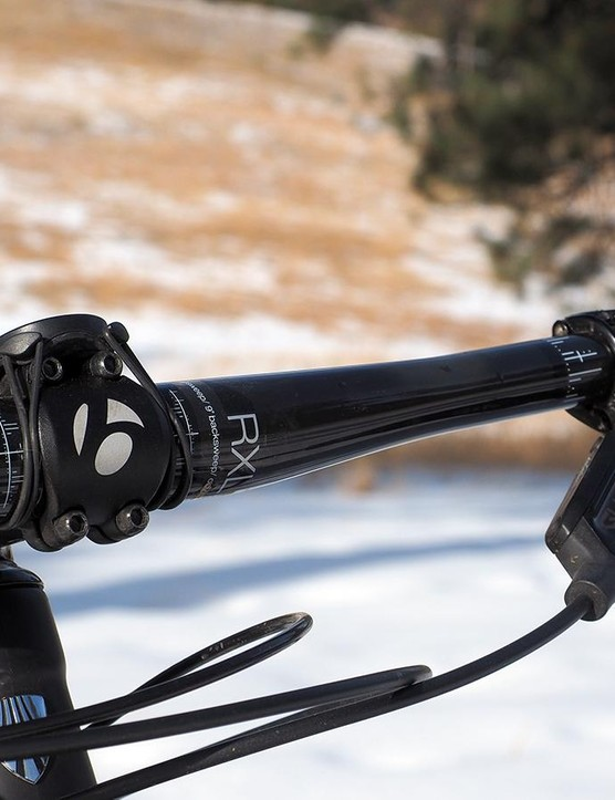 The Bontrager carbon flat bar is a touch narrow at 720mm