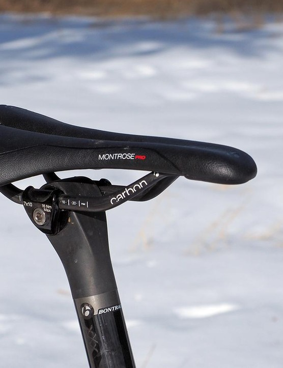The Bontrager Montrose saddle is impressively comfortable with smooth edges and a rounded rear that won't snag clothing