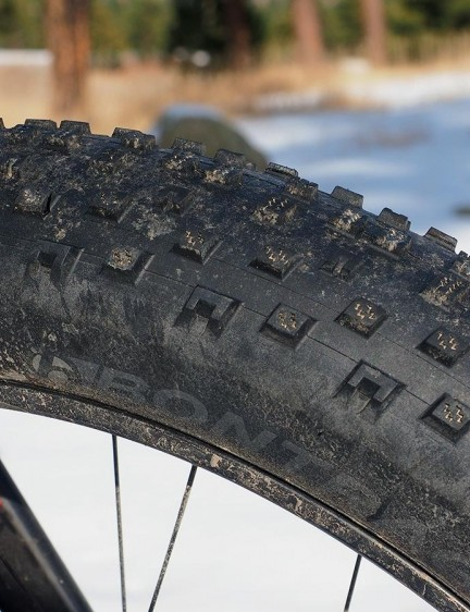 The stock Bontrager Hodag tires work well on packed snow but they're distinctly outmatched if someone hasn't already blazed the trail for you