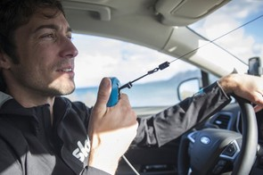 Each Mondeo will be fitted with three radio systems, as modelled here by Sports Director Nicolas Portal