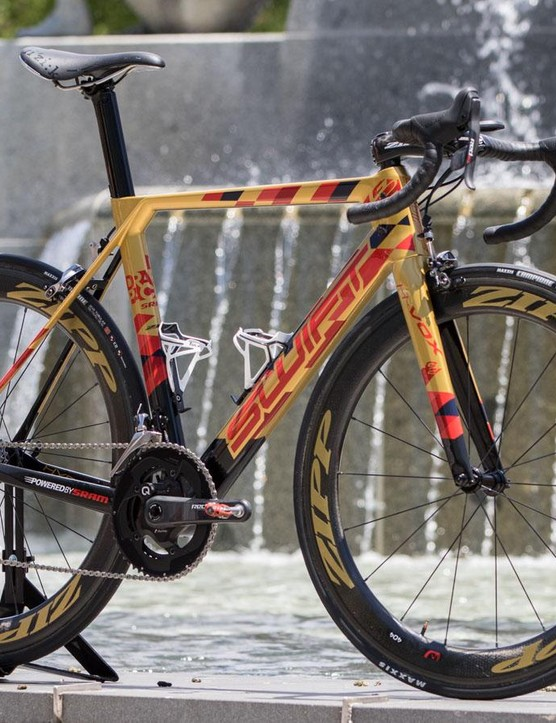 Gold paint celebrates and acknowledges Brown's 14th Tour Down Under and his previous Olympic gold medals