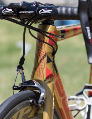 Standard center-mount brakes are used front and rear on this new aero road frame