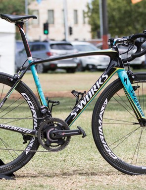 Astana has a slight change in crank, moving to Campagnolo/SRM from S-Works/SRM