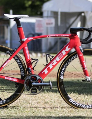 The Trek-Segafredo team are using a range of special Project-One bikes. Here's an example of the standard team bike for 2016, belonging to recently crowned Australian National champion - Jack Bobridge