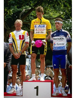Greg LeMond's greatest moment was winning the 1989 Tour by 8 seconds from Laurent Fignon. Pedro Delgado finished third.