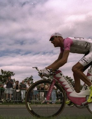 Bjarne Riis aboard his futuristic Pinarello bike in 1997.