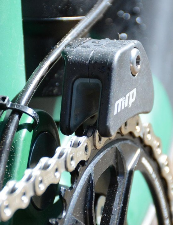 An MRP AMG V2 chain guide pairs with a narrow/wide ring for chain management