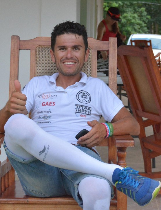 While I rarely saw him in the actual race, I did manage to get a pic of overall winner, Diego Tamayo from Colombia