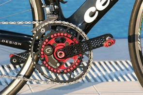 Rotor's prototype crankarm is striking to look at but some Cervélo Test Team riders may have found it and the existing Agilis Evo model a bit flexy.  Team representatives say a stiffer replacement is pending from Rotor.