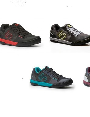 Five Ten offers the Freerider Contact shoes in five colors for men, and two for women (shown lower right)