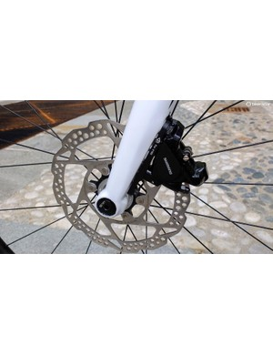 The 03 model has a full carbon fork, but doesn't have the integrated adaptor insert for caliper position swaps
