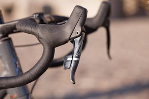 And one lever to rule them, er, shift them all. SRAM's 1x right-hand Force lever handles all shifting duties for the bike