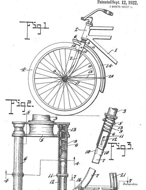 This telescopic suspension fork design dates back to 1922