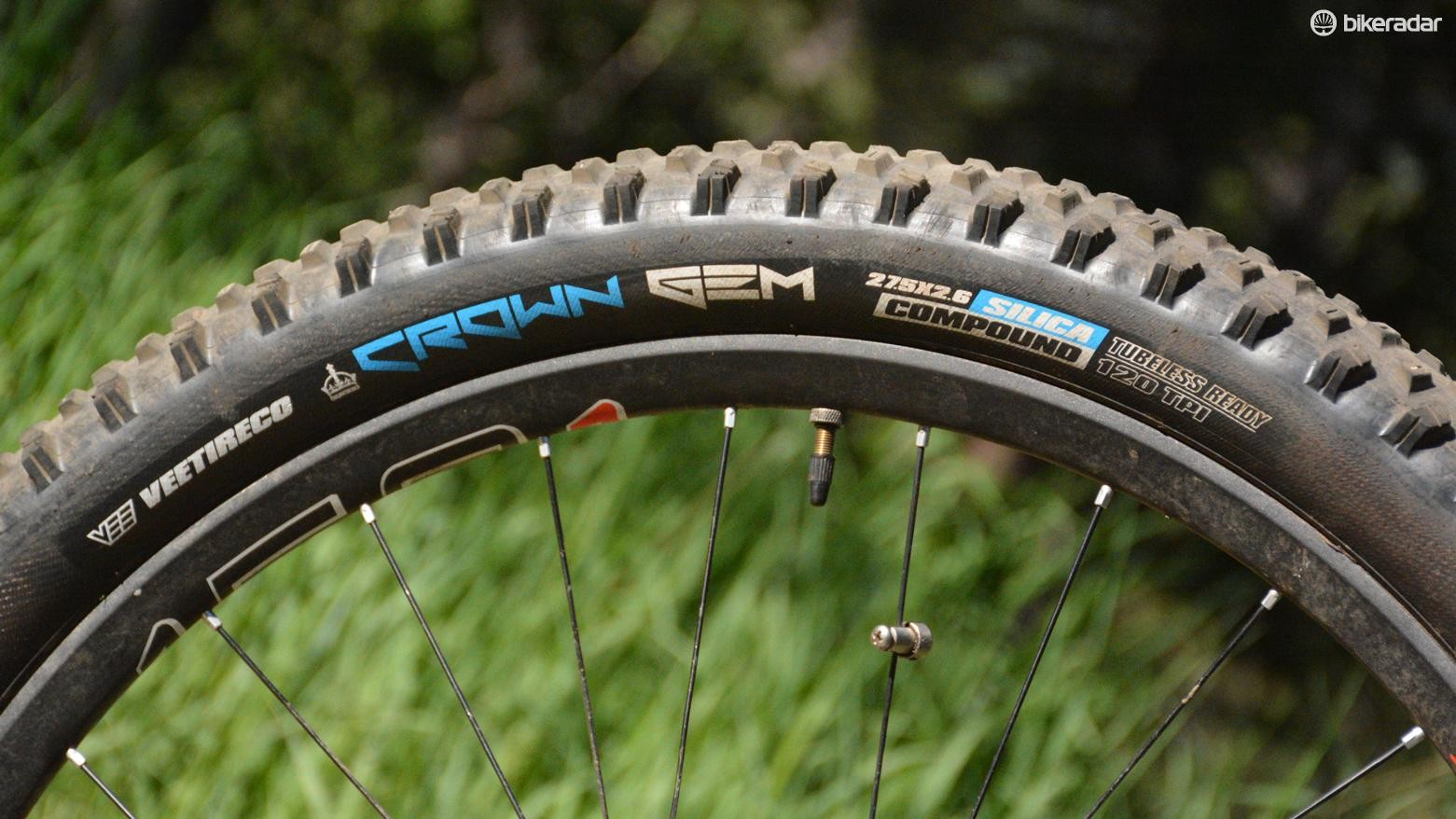 Vee Tire's Crown Gem comes in 27.5 x 2.6, 2.8 and 3.0in options