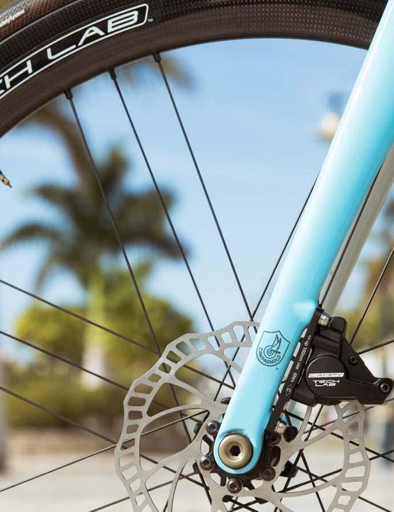 It's been a long time coming, but Campagnolo has entered the disc age