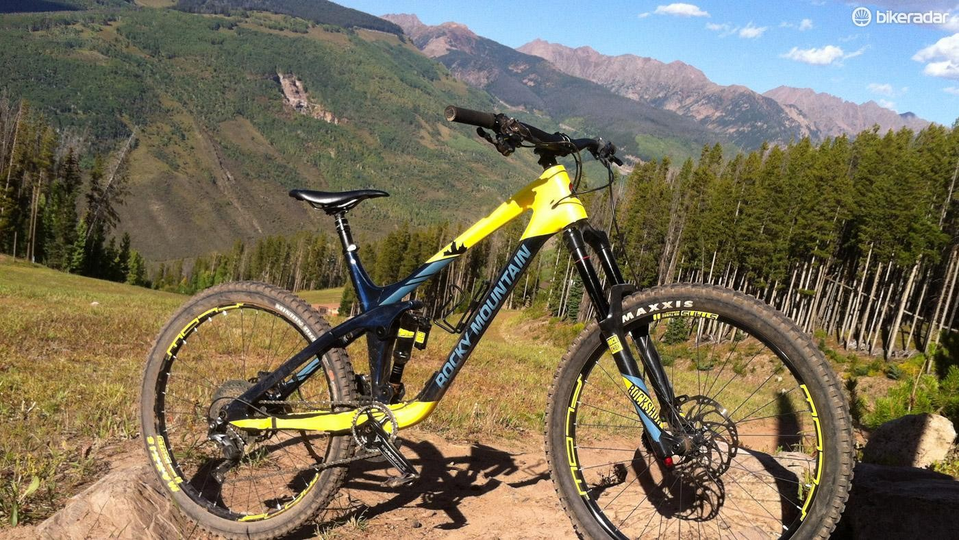 Rocky Mountain's all-new Slayer poised before a monster descent, where it belongs
