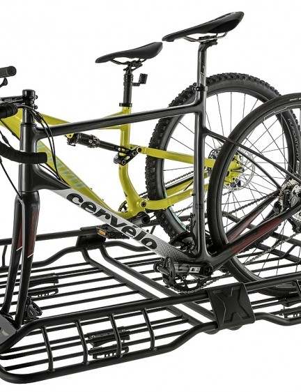 Rhino-Rack's XTray Pro maximizes roof space with a cargo basket and fork-mount bike haulers