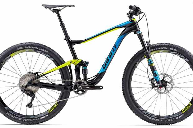"Giant's Anthem Advanced conquers XC action with 27.5"" wheels, an updated geometry, and 120/110mm travel front and rear"