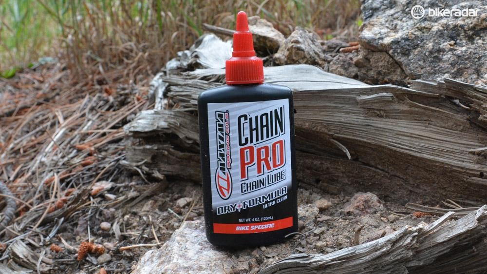 Maxima's Chain Pro lube is ideal for dry, dusty riding conditions