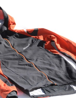 Water-resistant stretch material comprises the jacket