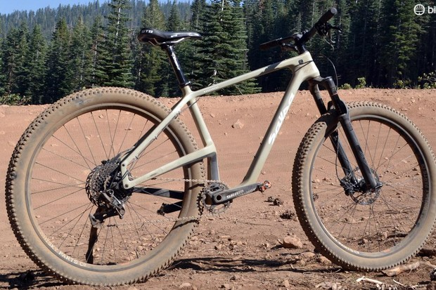 Salsa's new carbon Woodsmoke 29+ strikes quite the pose with massive 29in plus rims and tires