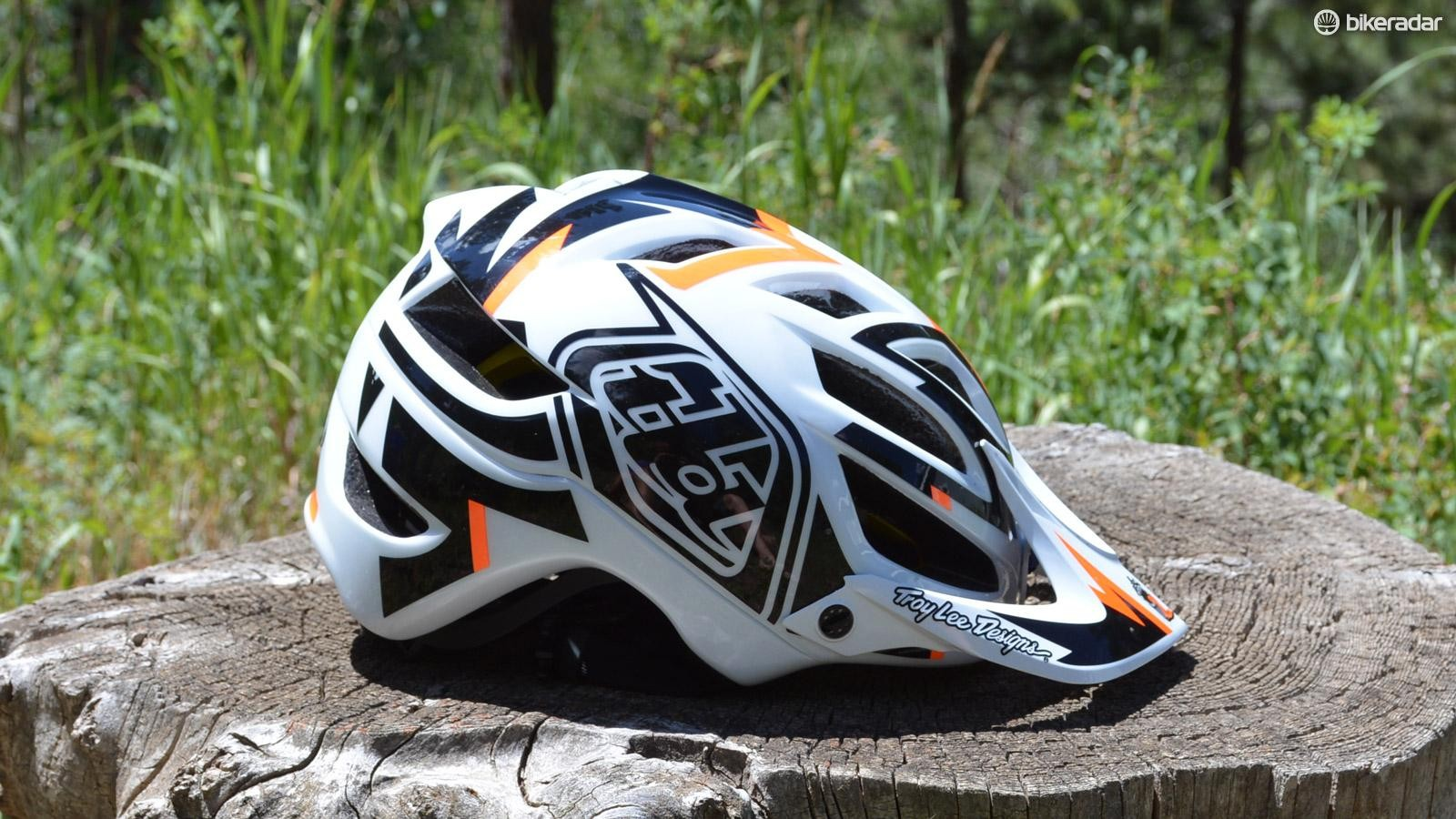 Troy Lee Designs A1 MIPS Vertigo helmet is loaded with the ubiquitous TLD style