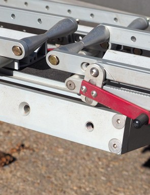 The Quik Rack has a bit of an Erector Set-like aesthetic with its assortment of bolted-together aluminum extrusions, blocks, and bars. Construction quality is excellent, however, and the overall design is extremely clever