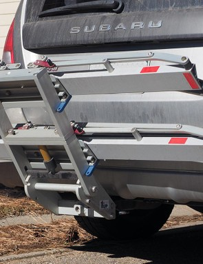 There's also a handy intermediate position that allows for rear hatch access without tilting the rack down at all