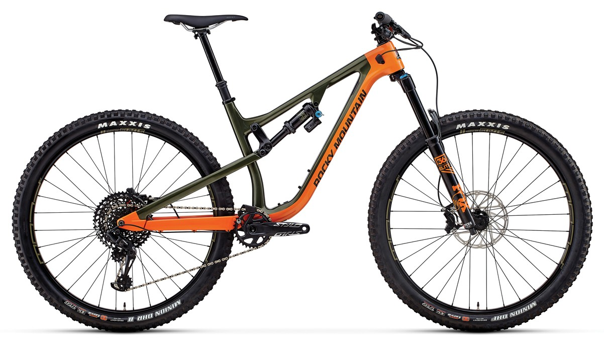 Rocky Mountain was feeling creative with the color names. The Instinct Carbon 90 BC Edition in Tank Girl/Fox Racing Orange/Back in Black