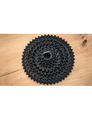 The new 8-speed 11-48t cassette, the E-Block, is where a lot of the work went and is designed to allow the rider to shift accurately under power