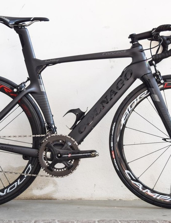 Super Record and Bora Ultra 50 wheels make this one desirable and expensive machine