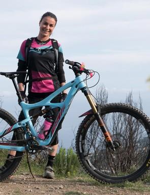 Valentina is riding a size-medium Ibis Mojo HD3…