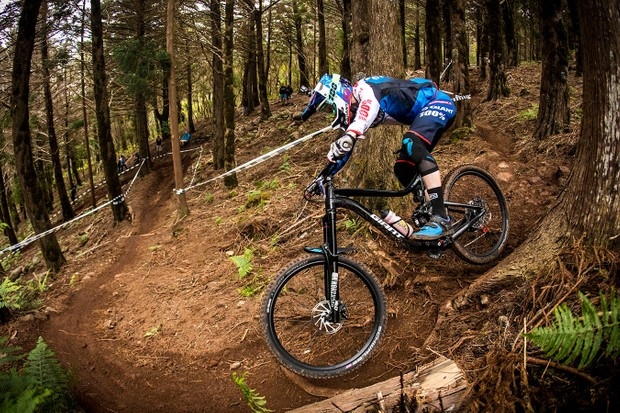 Giant Factory Off-Road Team pro Josh Carlson rode several different prototype versions of the new Reign, including this one at a recent Enduro World Series race in Madeira, Portugal