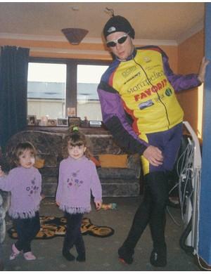 Jason's twins Morgan and Chloe, copying their dad stretching