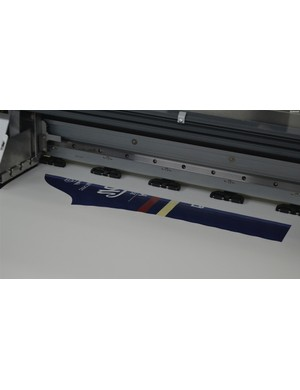 Huge specialist printers produce the transfer papers. Verge chooses to lay out the panels in a consistent pattern rather than filling every space. It uses more of the expensive paper but aids quality control