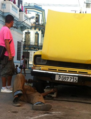 In Havana, like Cuba in general, seemingly anything goes including welding your car in the street