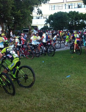 Riders wait for their wave at the start of the Titan Tropic