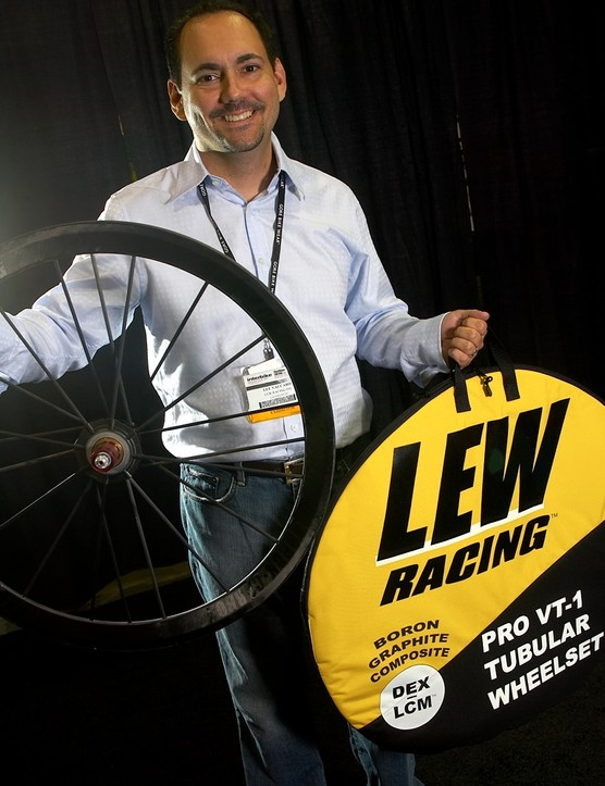 Lew Racing's Lee Vaccaro shows off his ultra-light wheels.